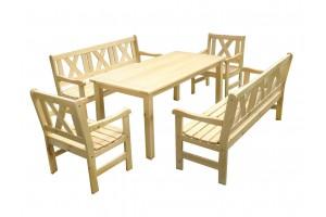 BAWARIA 04 Zestawy Meble ogrodowe drewniane ławki